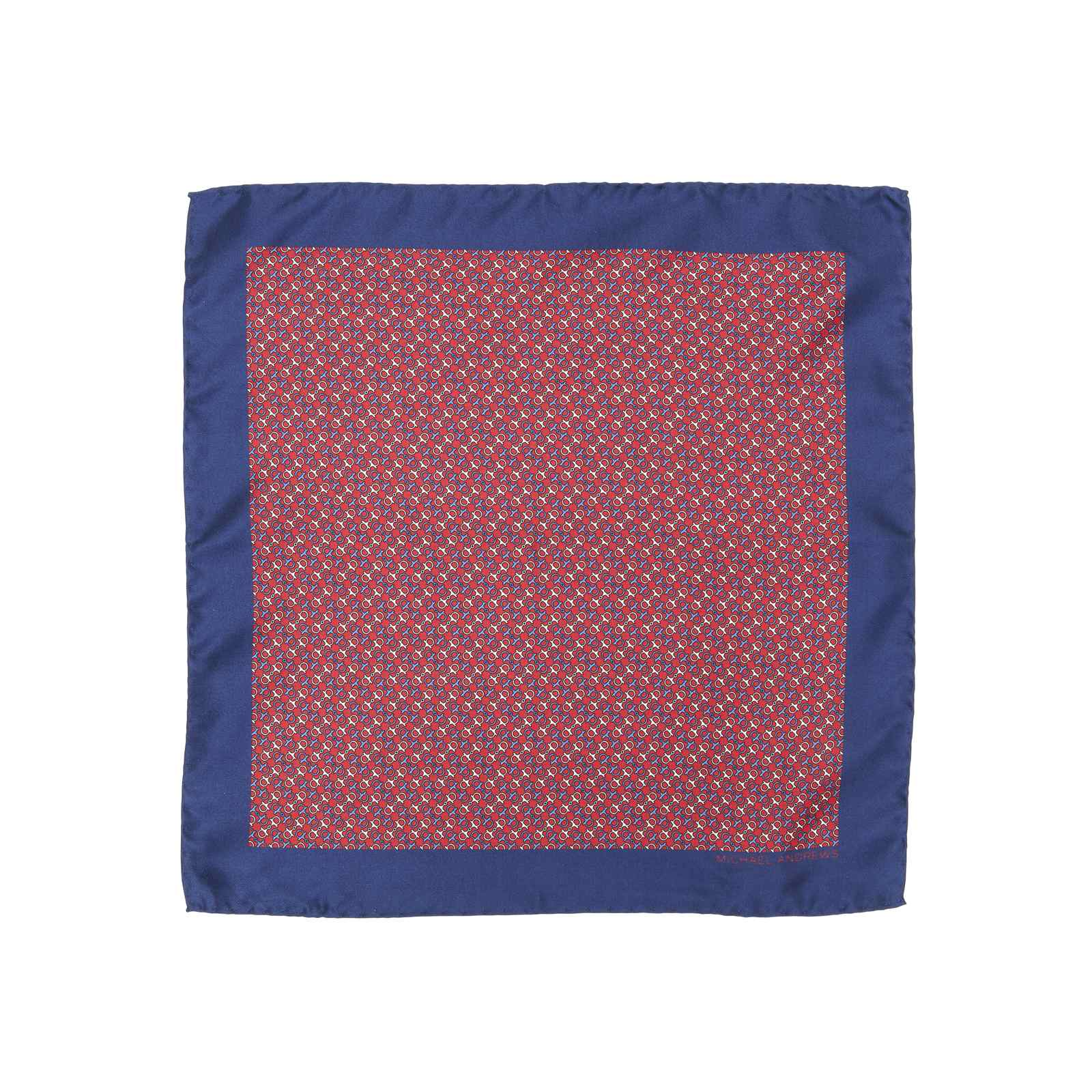 Blue and Red Horse Bit Icon Pocket Square