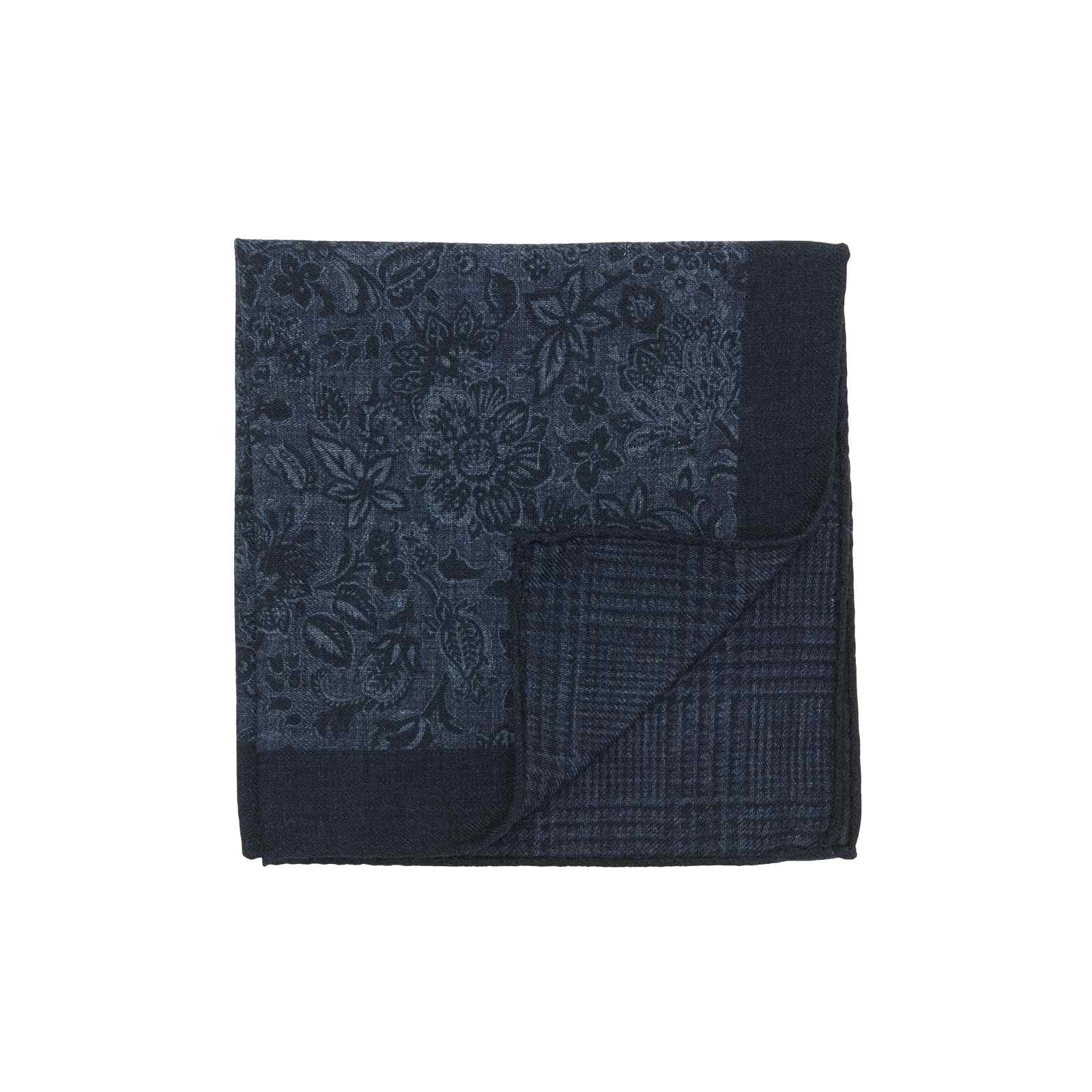 Navy and Classic Blue Double Sided Floral and Glencheck Pocket Square