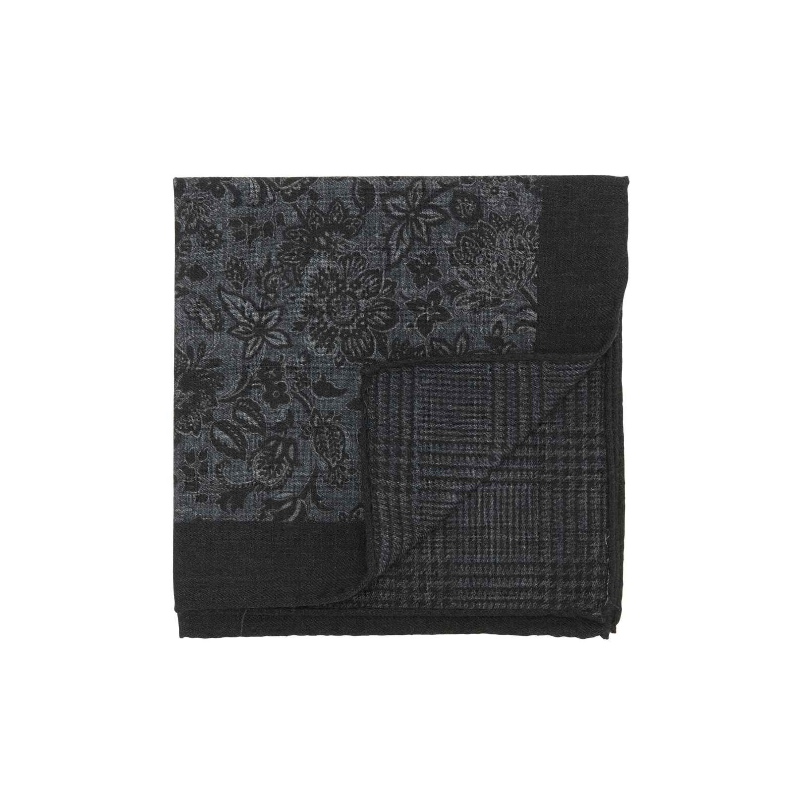 Black and Grey Double Sided Floral and Glencheck Pocket Square