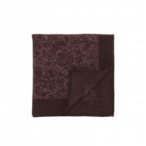 Burgundy and Red Double Sided Floral and Glencheck Pocket Square