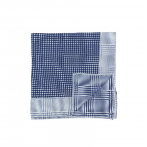 Navy Double Sided Houndstooth and Glencheck Pocket Square