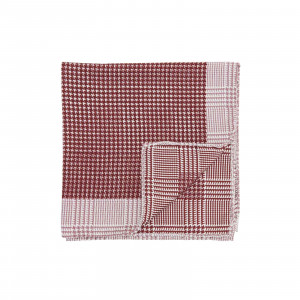 Burgundy Double Sided Houndstooth and Glencheck Pocket Square