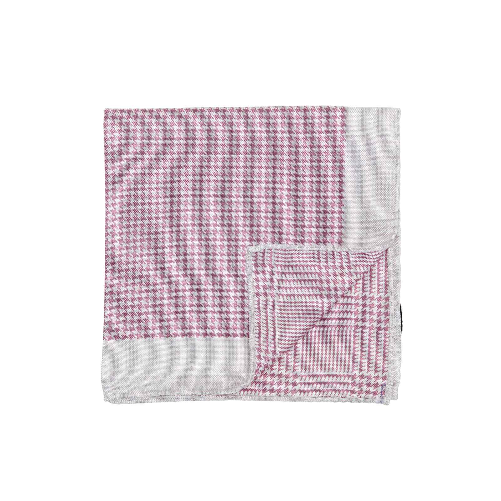 Pink Double Sided Houndstooth and Glencheck Pocket Square