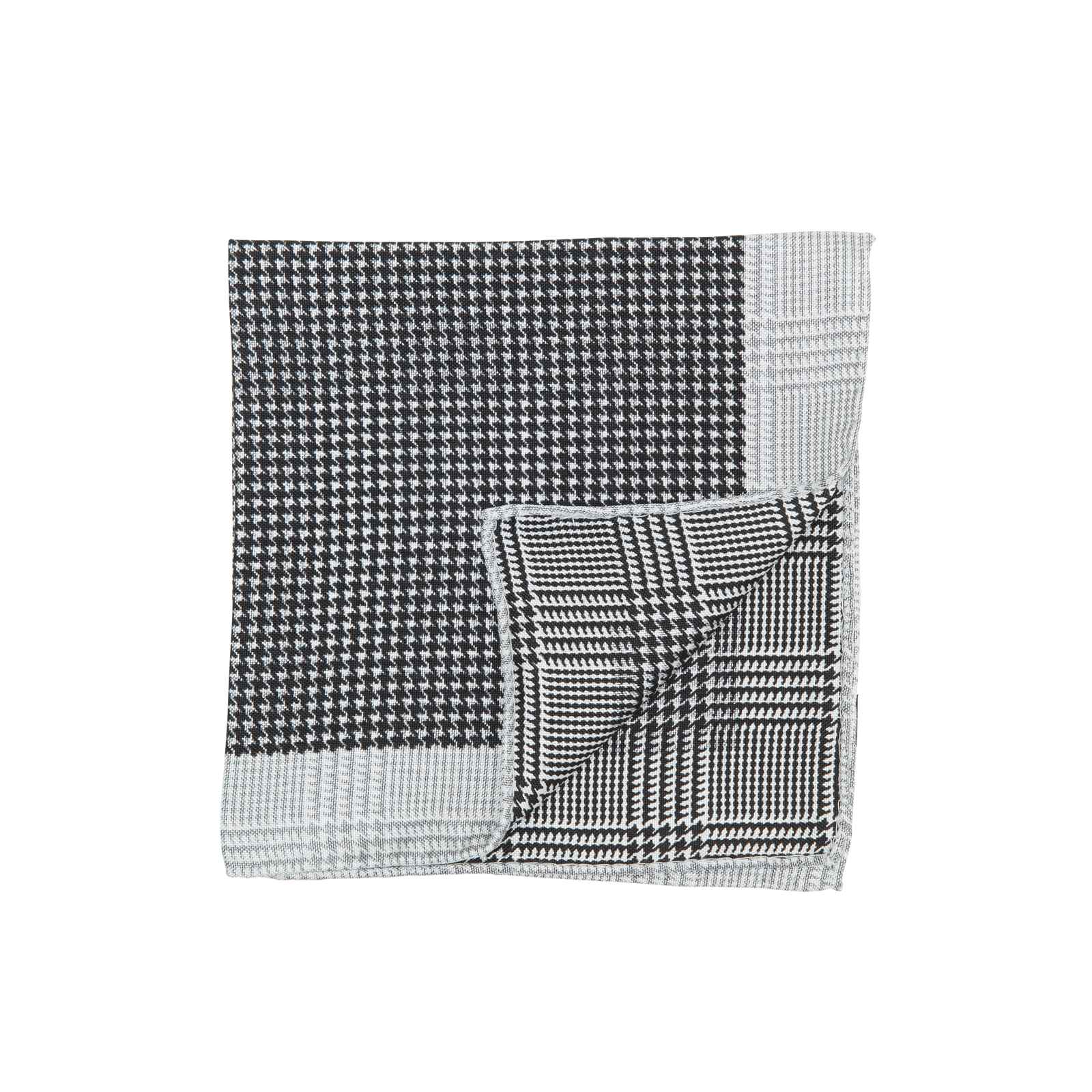 Black Double Sided Houndstooth and Glencheck Pocket Square