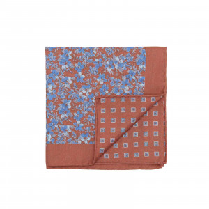 Burnt Orange and Blue Double Sided Flowers and Square Medallions Pocket Square