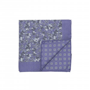 Purple and Blue Double Sided Flowers and Square Medallions Pocket Square