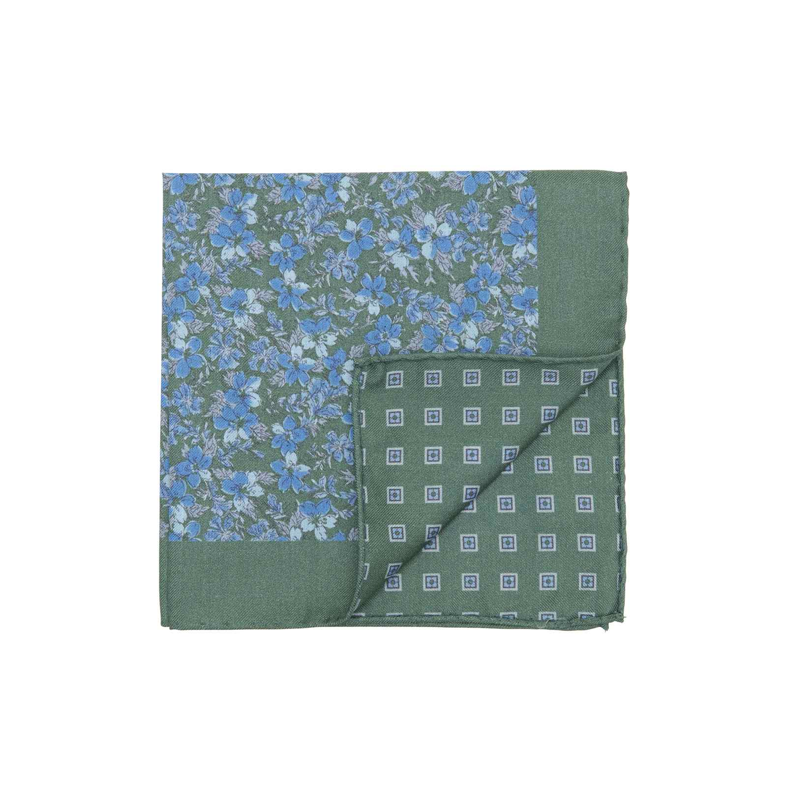 Forest Green and Blue Double Sided Flowers and Square Medallions Pocket Square