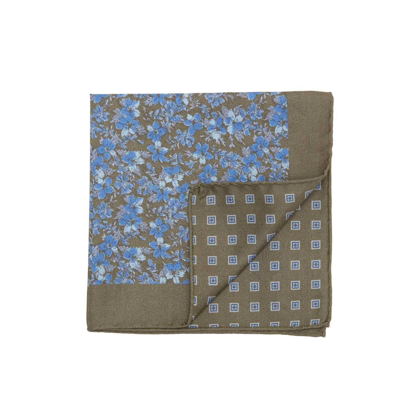 Olive Brown and Blue Double Sided Flowers and Square Medallions Pocket Square