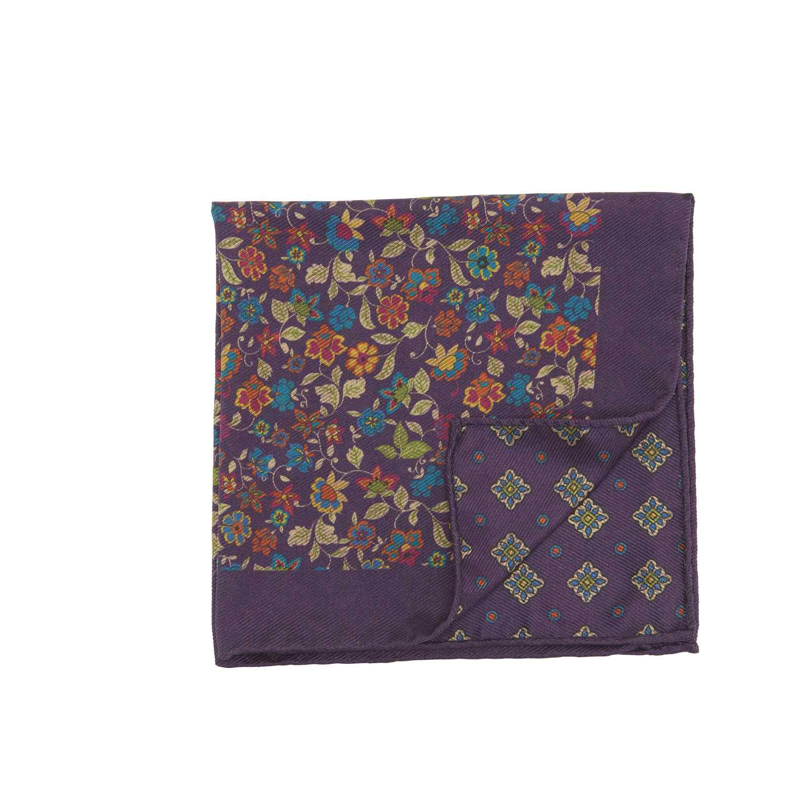 Purple Double Sided Multicolor Floral and Medallions Pocket Square