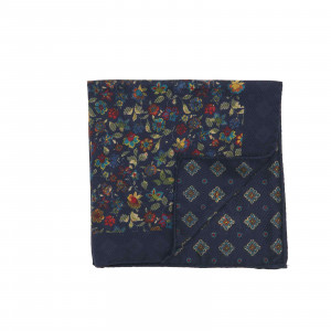 Navy Double Sided Multicolor Floral and Medallions Pocket Square