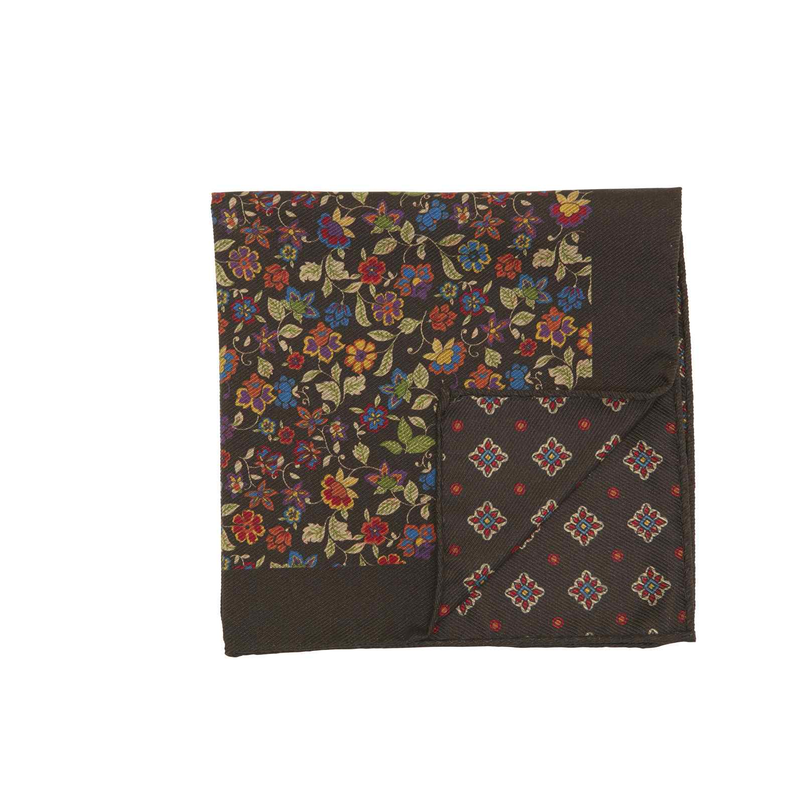 Brown Double Sided Multicolor Floral and Medallions Pocket Square