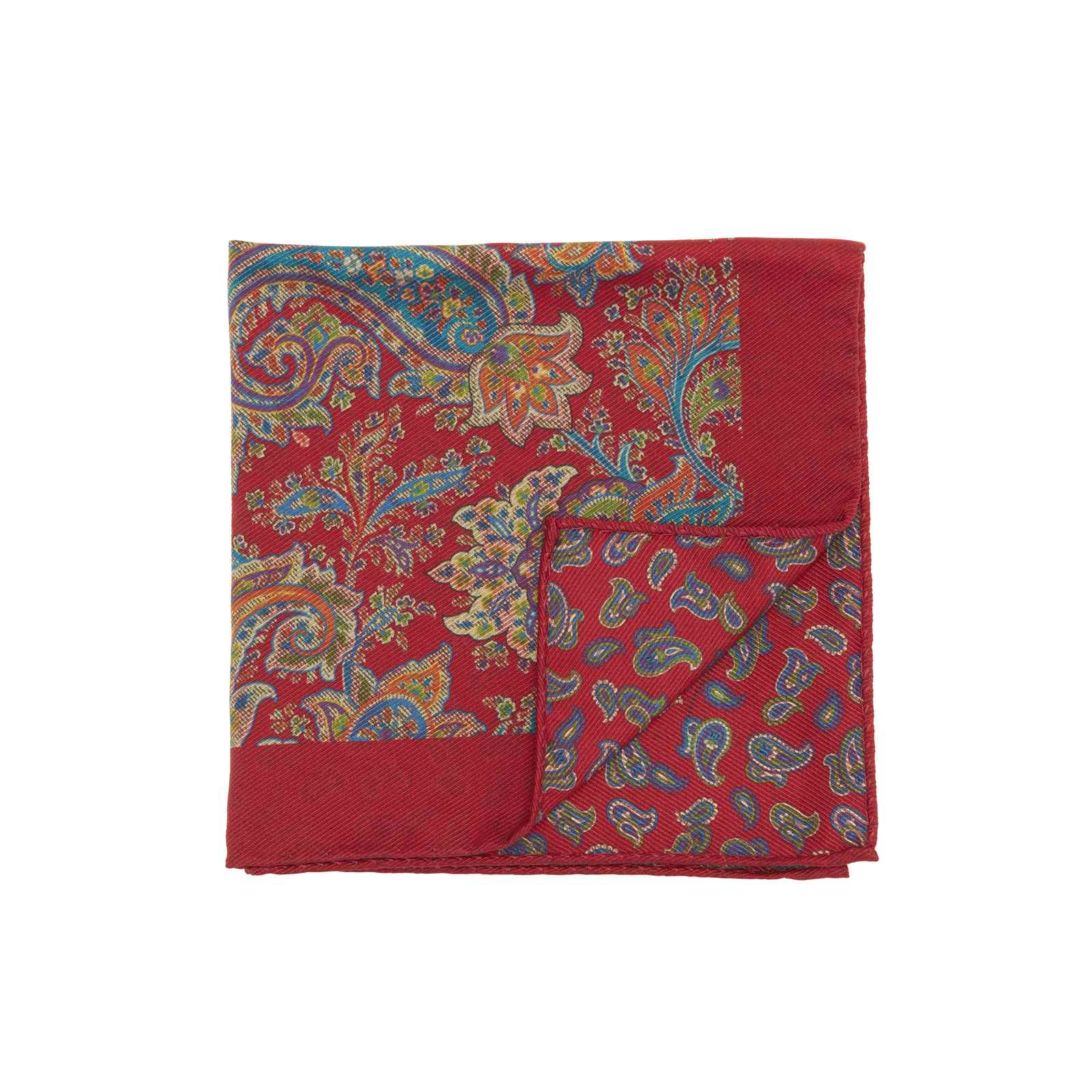 Red Double Sided Multicolor Floral and Paisley Pocket Square