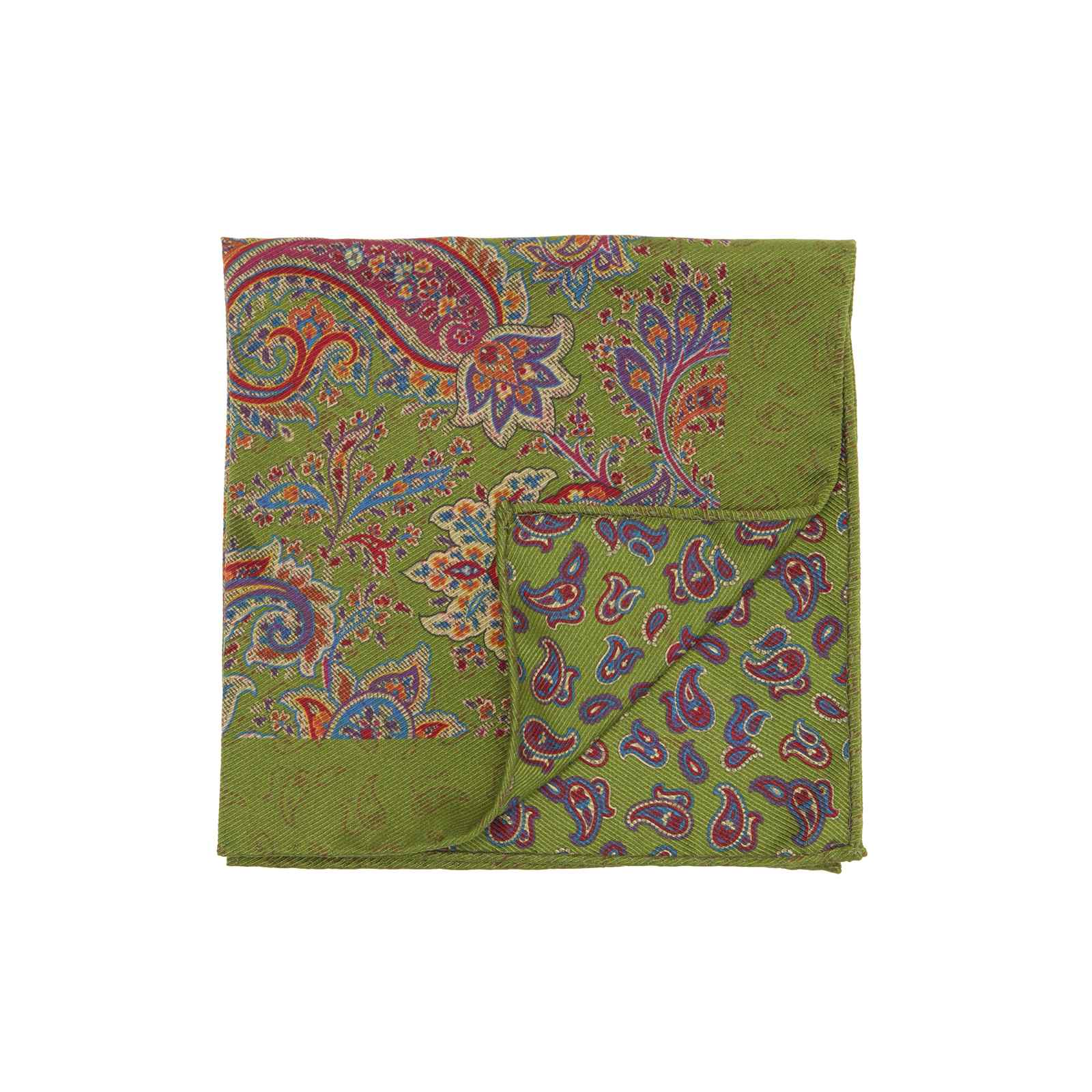 Green Double Sided Multicolor Floral and Paisley Pocket Square