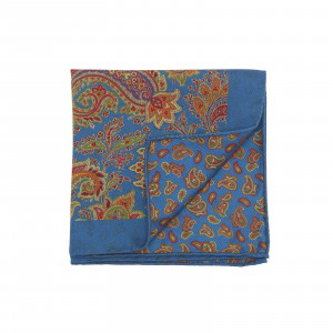 Blue Double Sided Multicolor Floral and Paisley Pocket Square