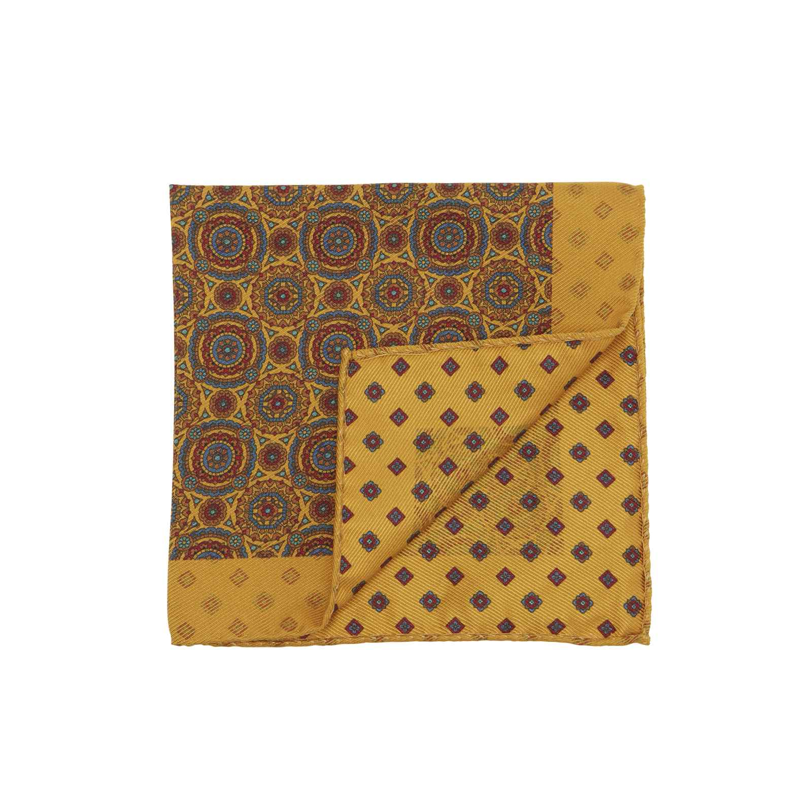 Yellow Double Sided Pocket Square Multicolor Kaleidoscope Circles and Small Medallions