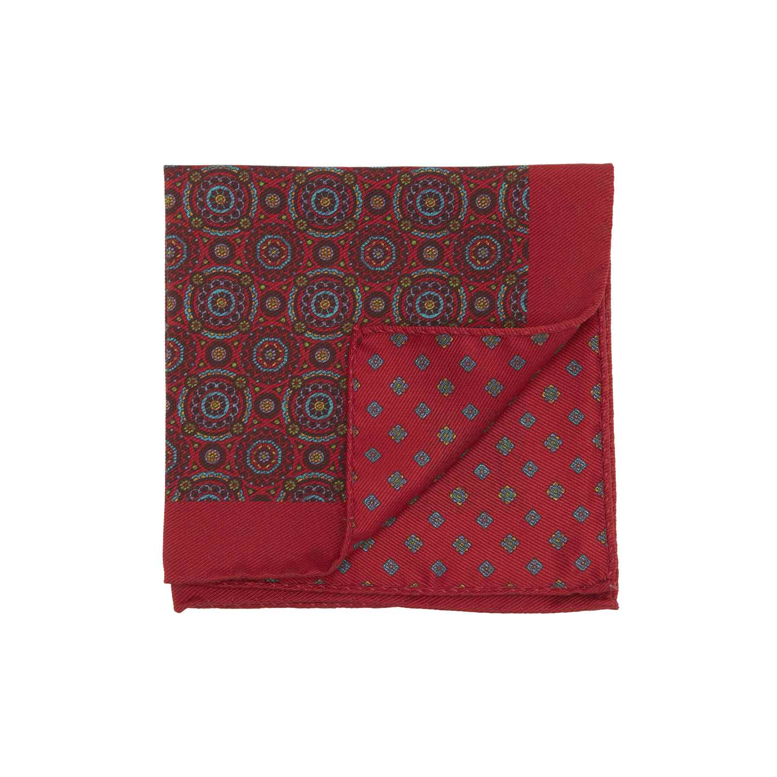 Red Double Sided Pocket Square Multicolor Kaleidoscope Circles and Small Medallions