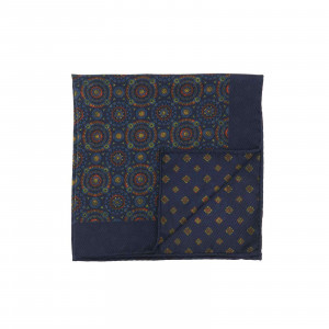 Navy Double Sided Pocket Square Multicolor Kaleidoscope Circles and Small Medallions