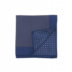 Navy Pocket Square with Small Rust Red Circles