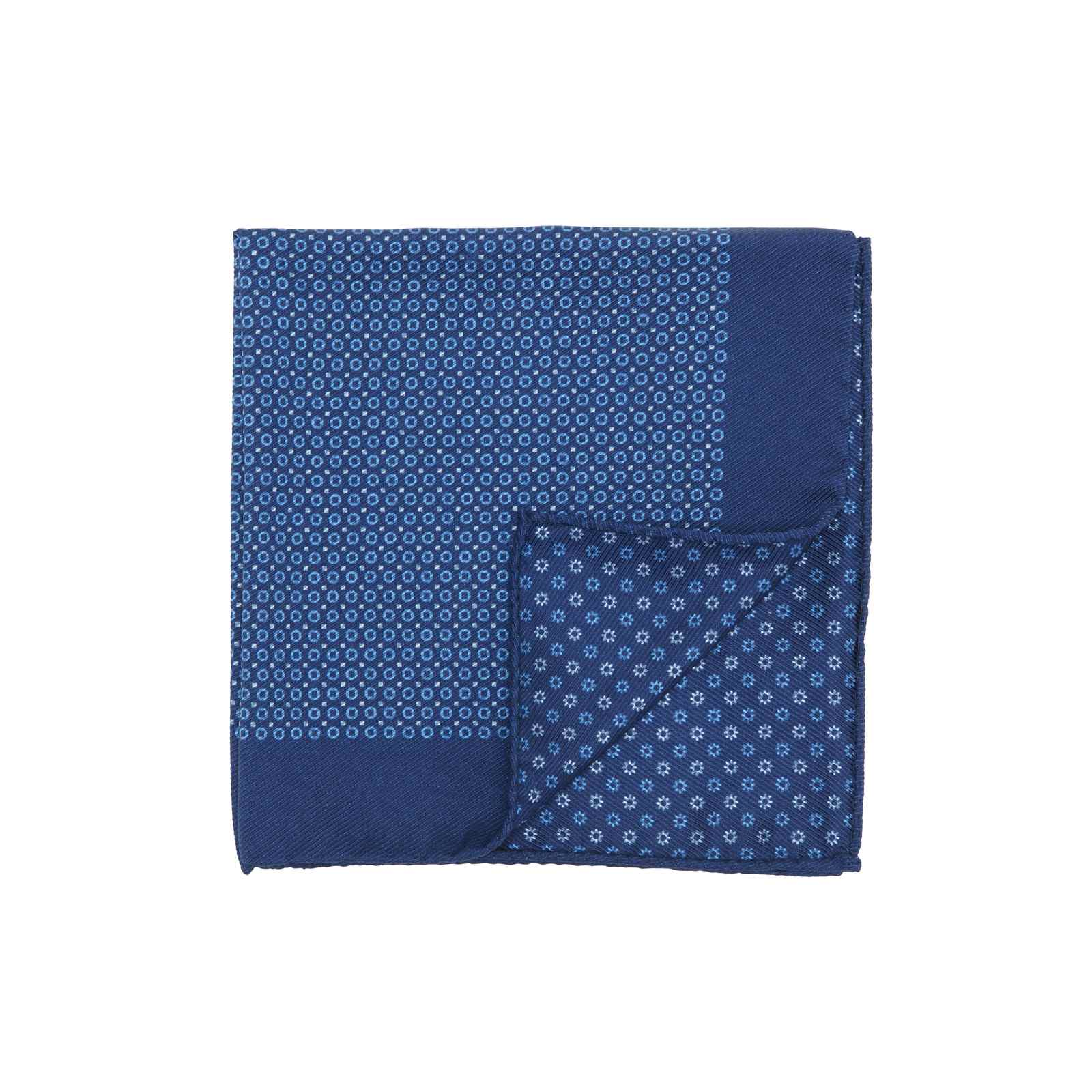 Navy Pocket Square with Small Light Blue Circles