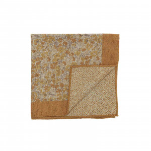 Mustard Double Sided Pocket Square w/ Small Multicolor Flowers and Abstract Dots