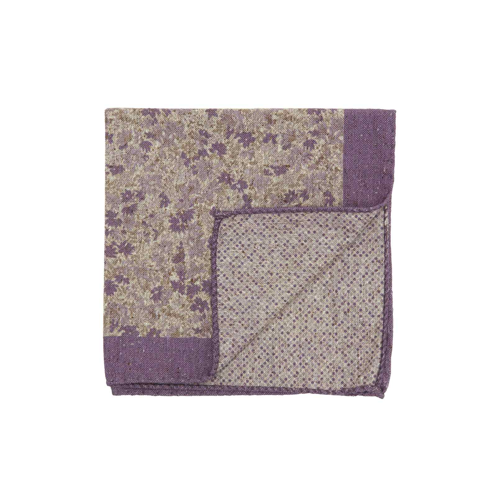 Purple and White Double Sided Pocket Square w/ Small Multicolor Flowers and Abstract Dots