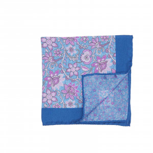 Blue and Pink Double Sided Pocket Square w/ Large and Small Flowers