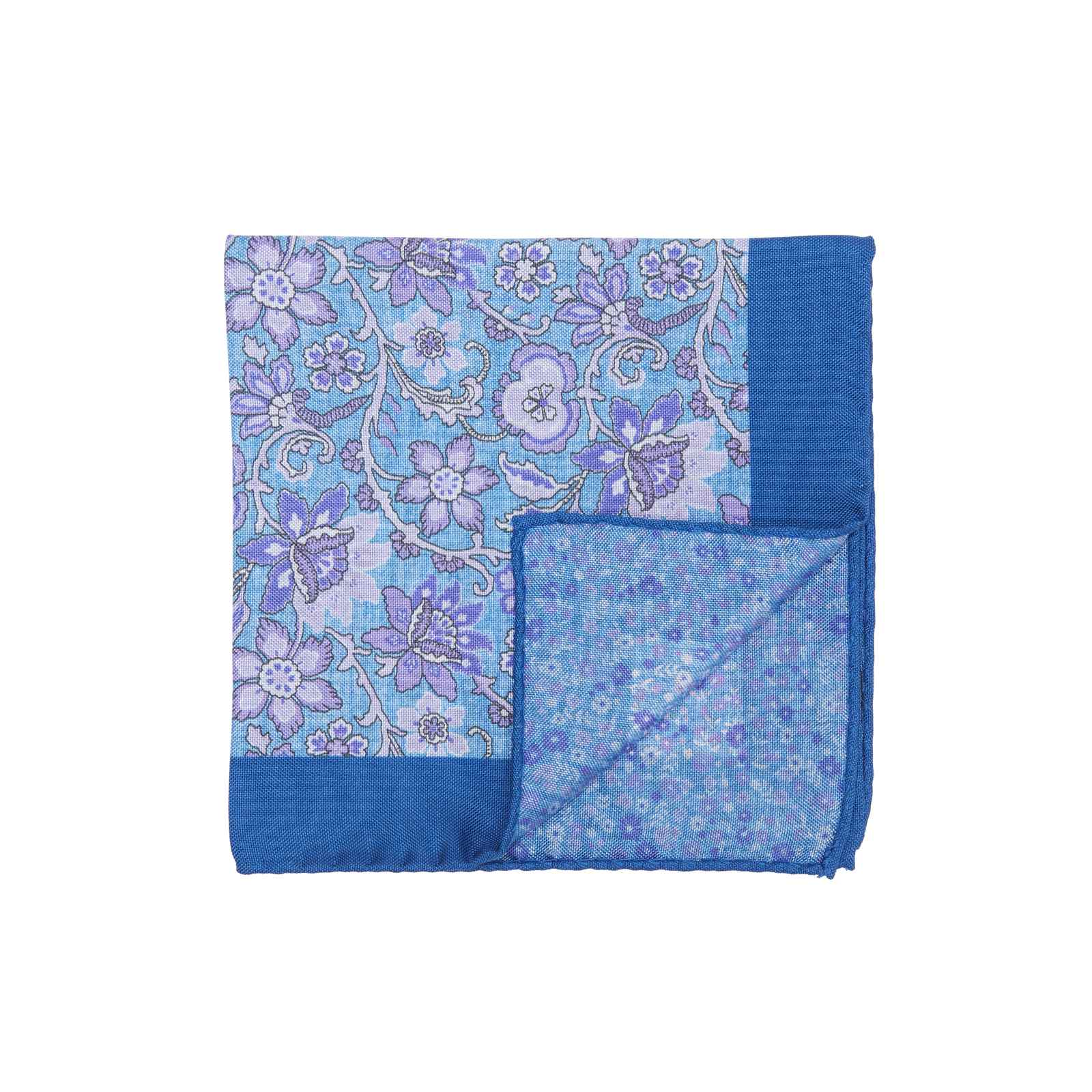 Blue and Purple Double Sided Pocket Square w/ Large and Small Flowers