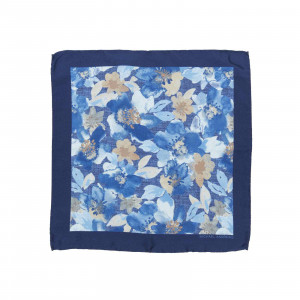 Royal and Light Blue Watercolor Floral Pocket Square