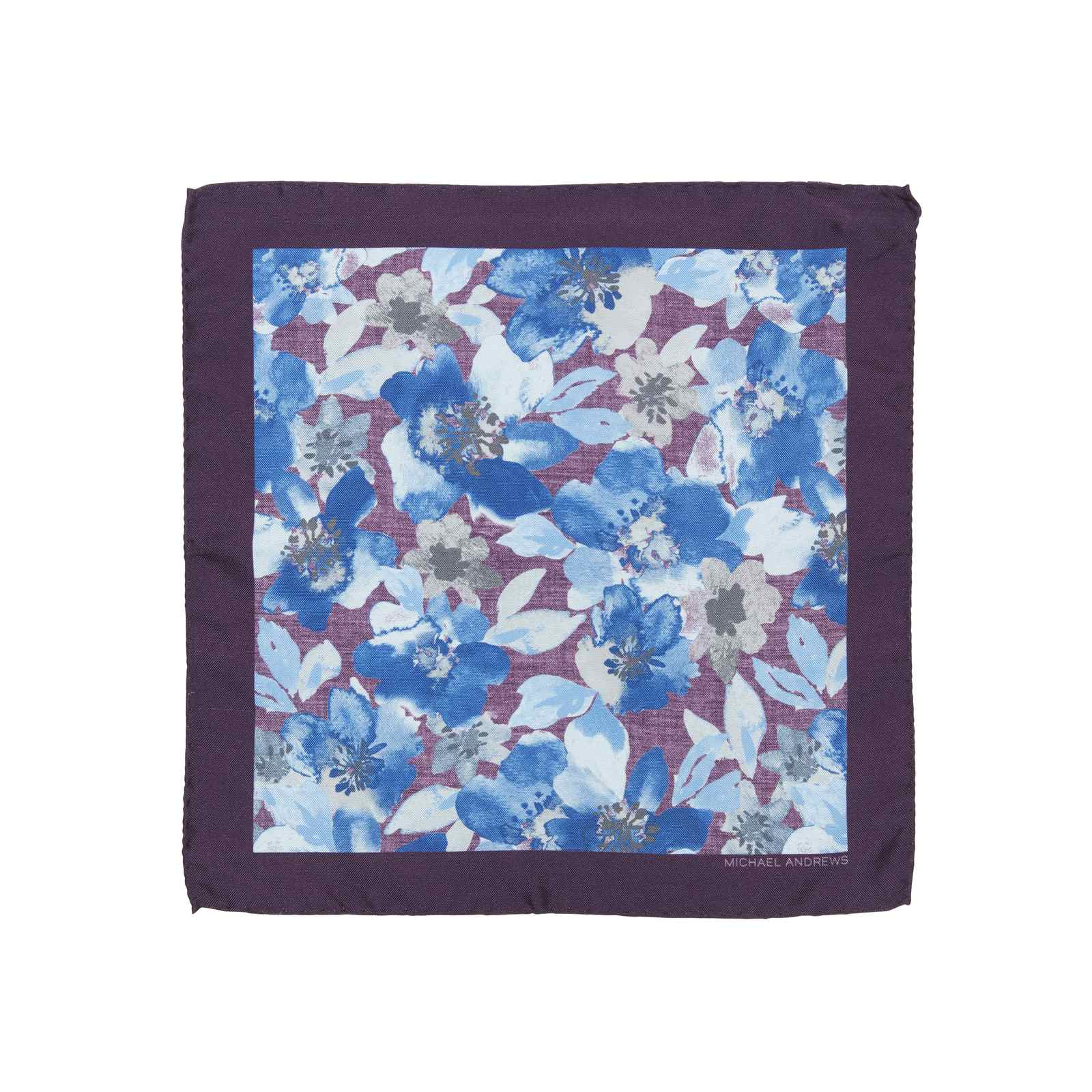 Purple and Royal Blue Watercolor Floral Pocket Square