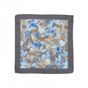 Steel Grey and Light Blue Watercolor Floral Pocket Square