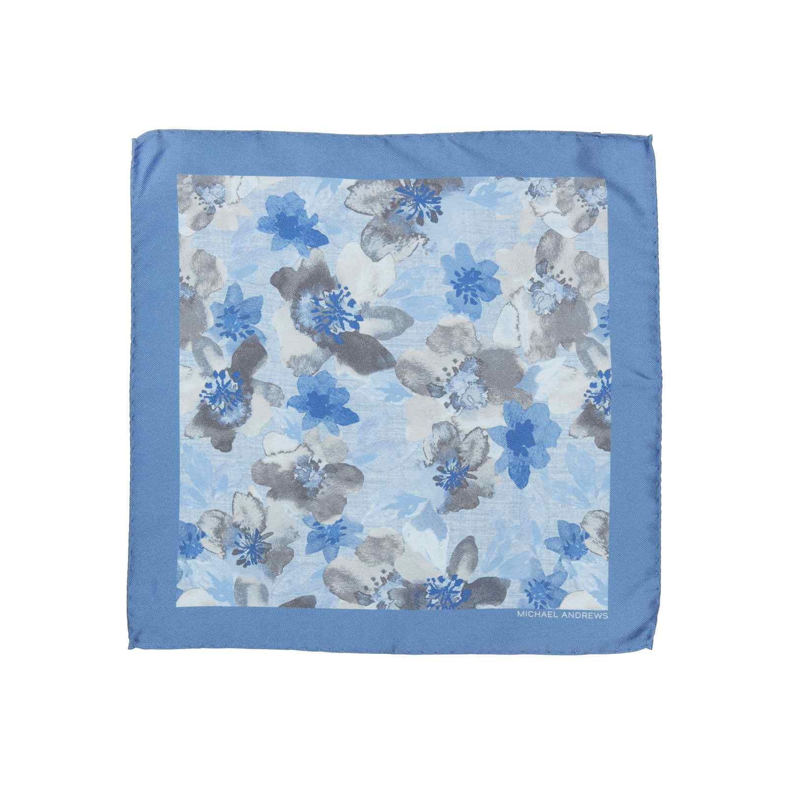 Light Blue with Sky Blue & Grey Watercolor Floral Pocket Square
