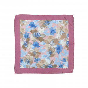 Pink and Light Blue Watercolor Floral Pocket Square