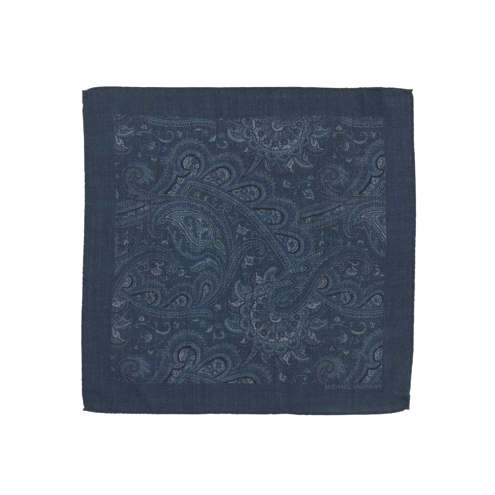 Blue Classic Paisley Pocket Square
