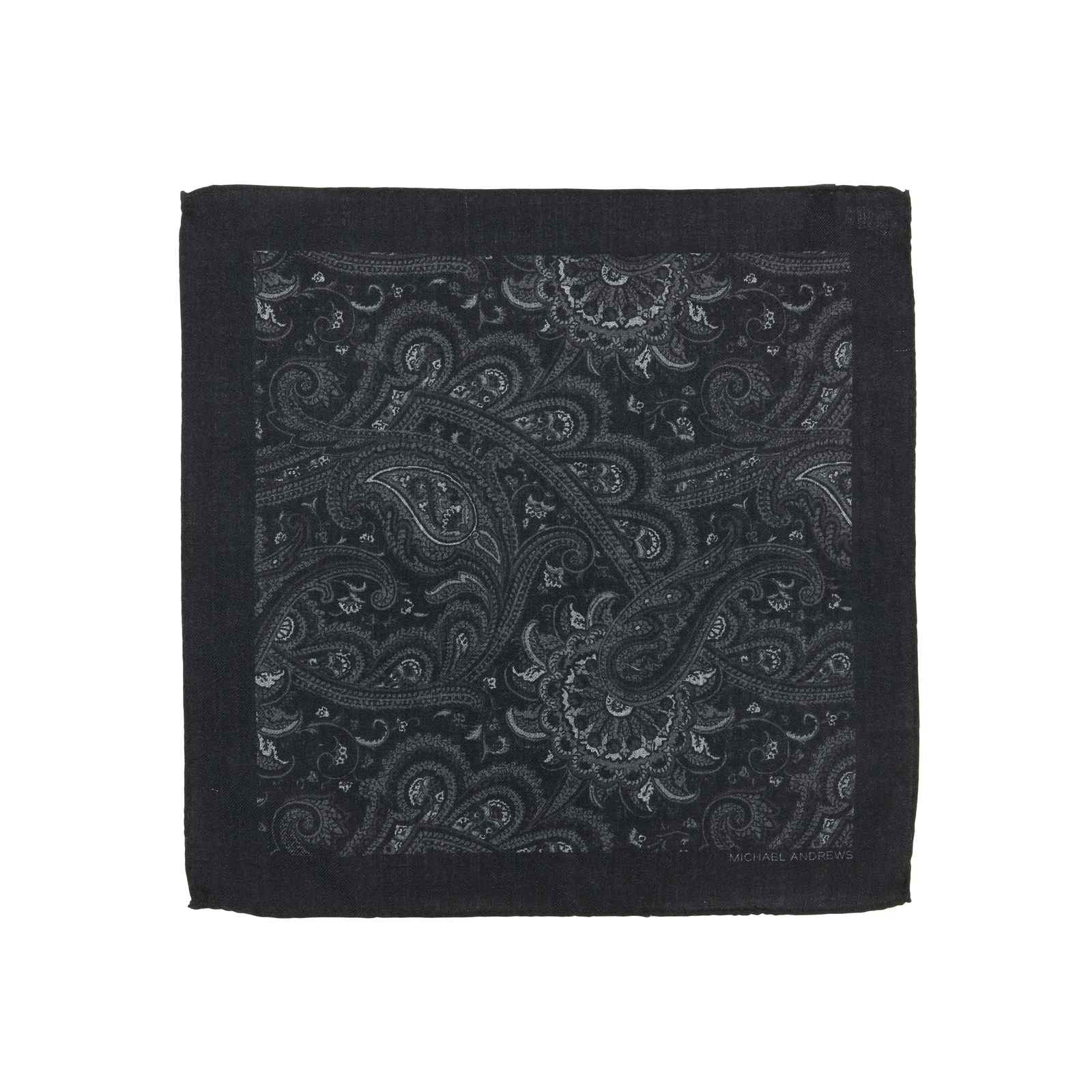 Black and Grey Classic Paisley Pocket Square