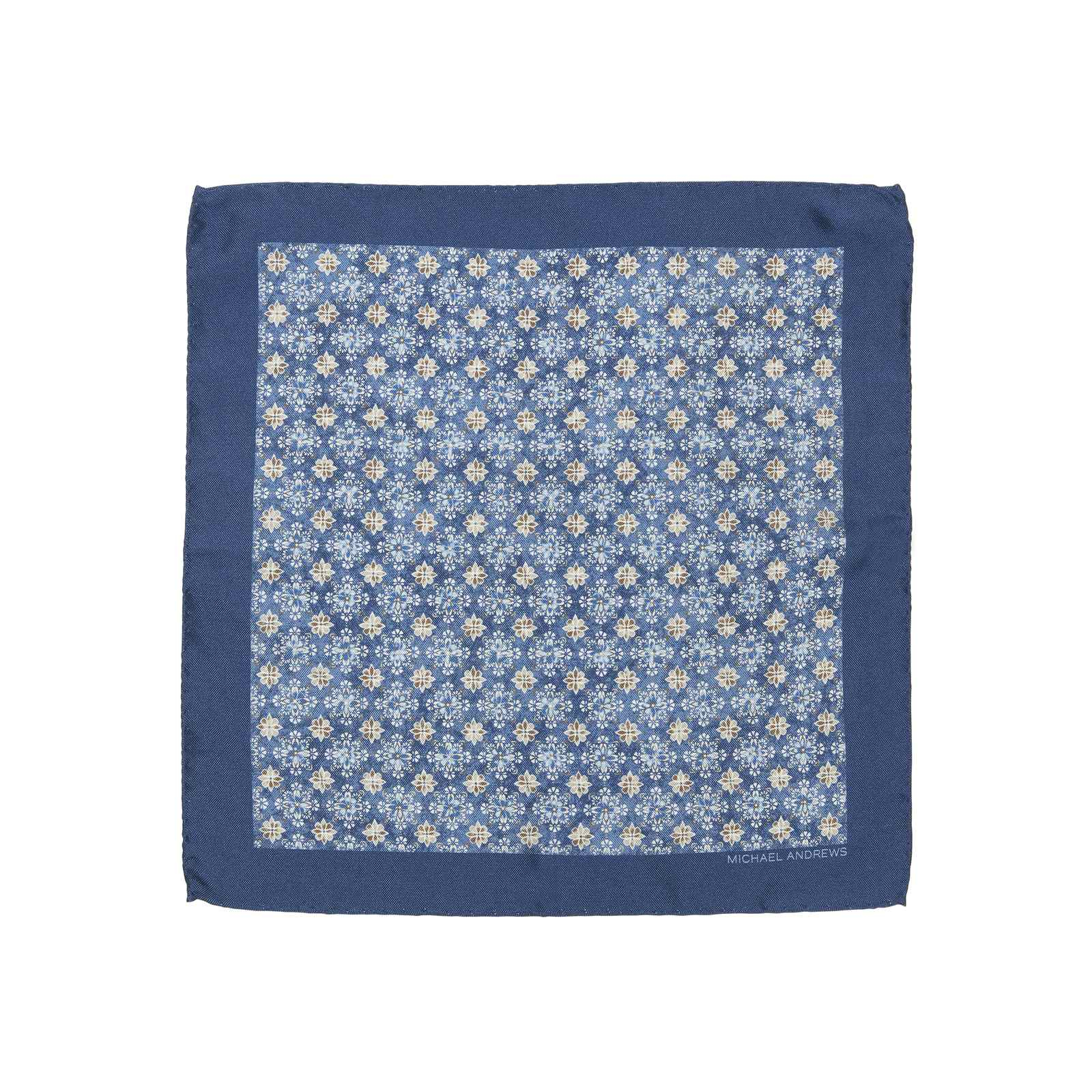 Navy Kaleidoscope Medallion Pocket Square