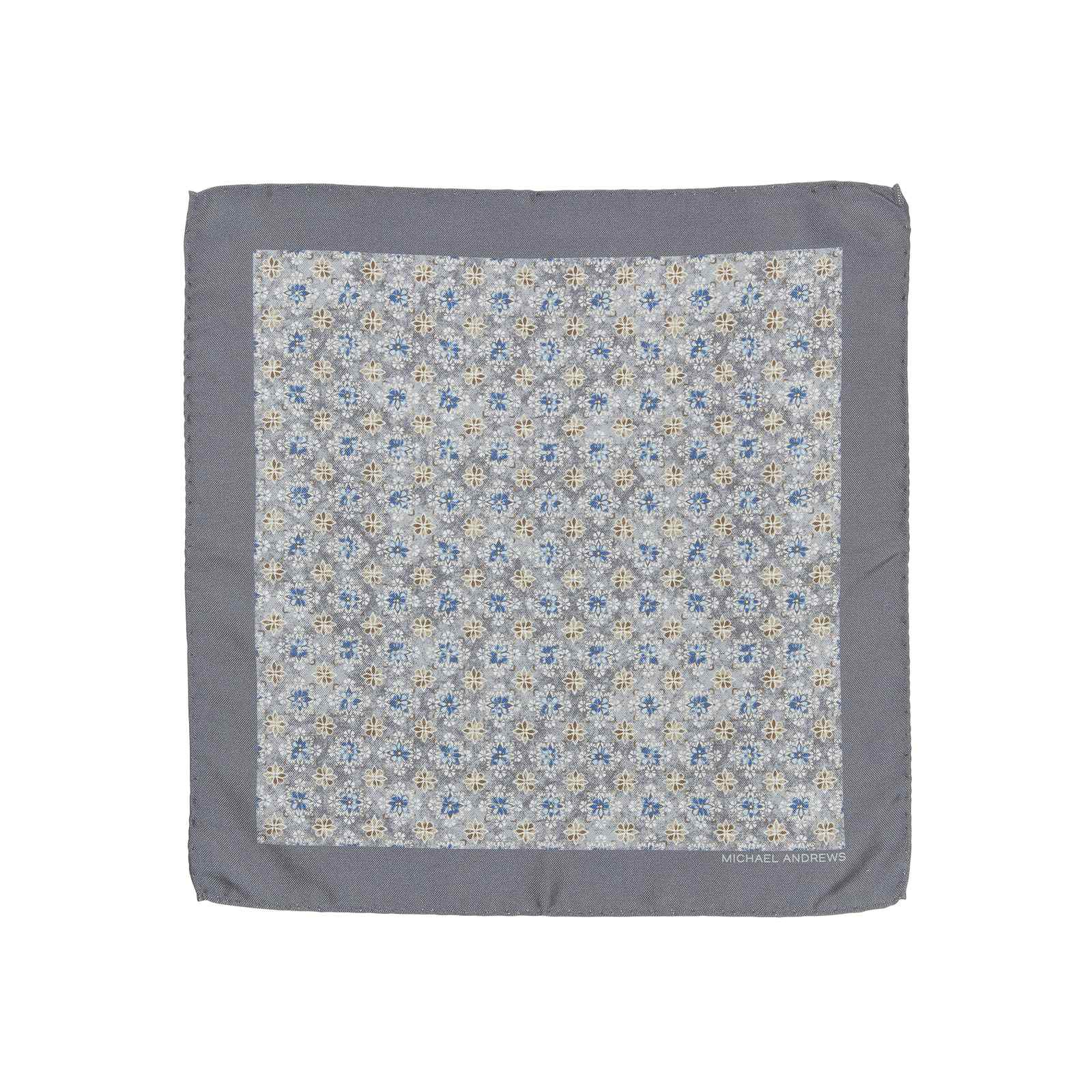 Grey Kaleidoscope Medallion Pocket Square