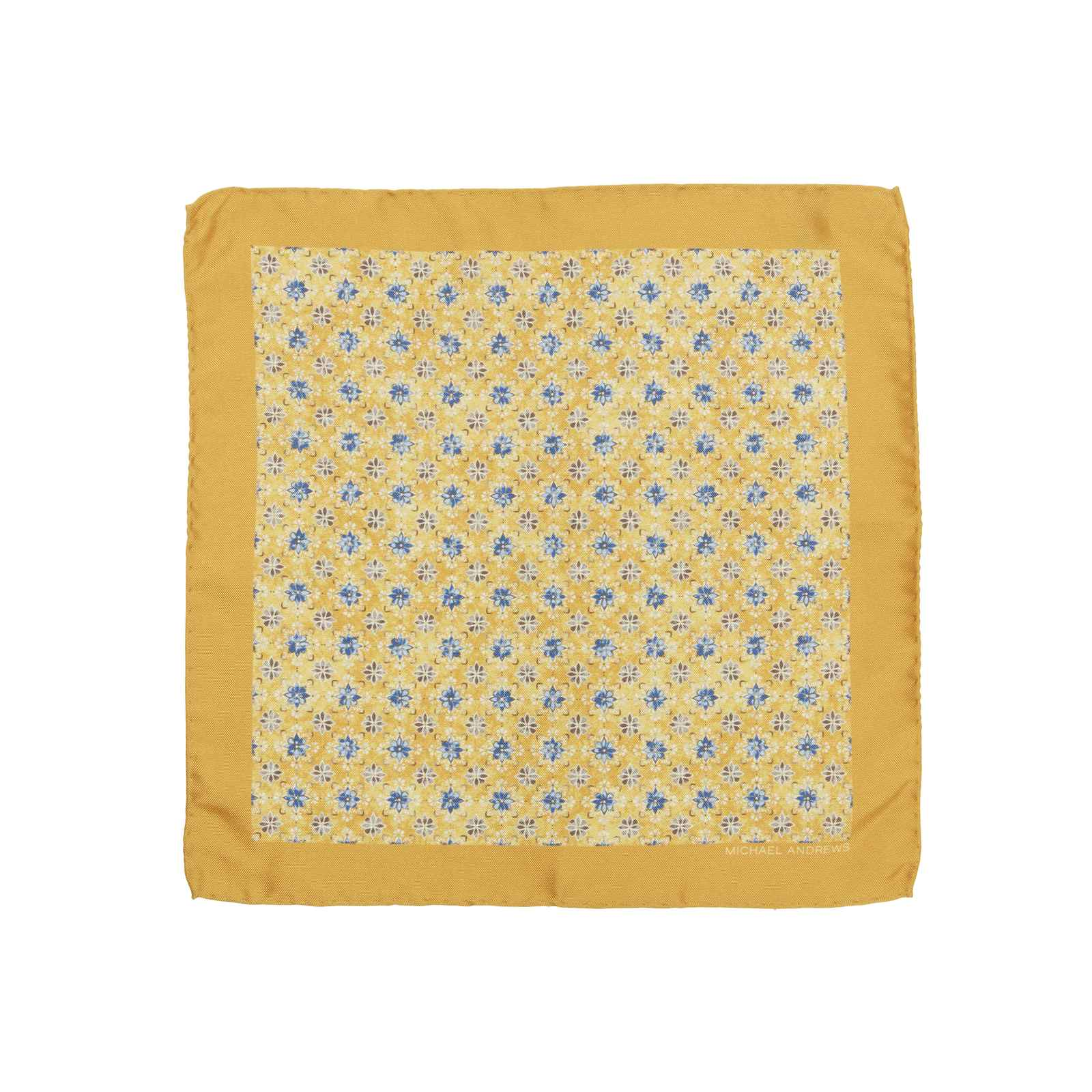 Yellow Kaleidoscope Medallion Pocket Square