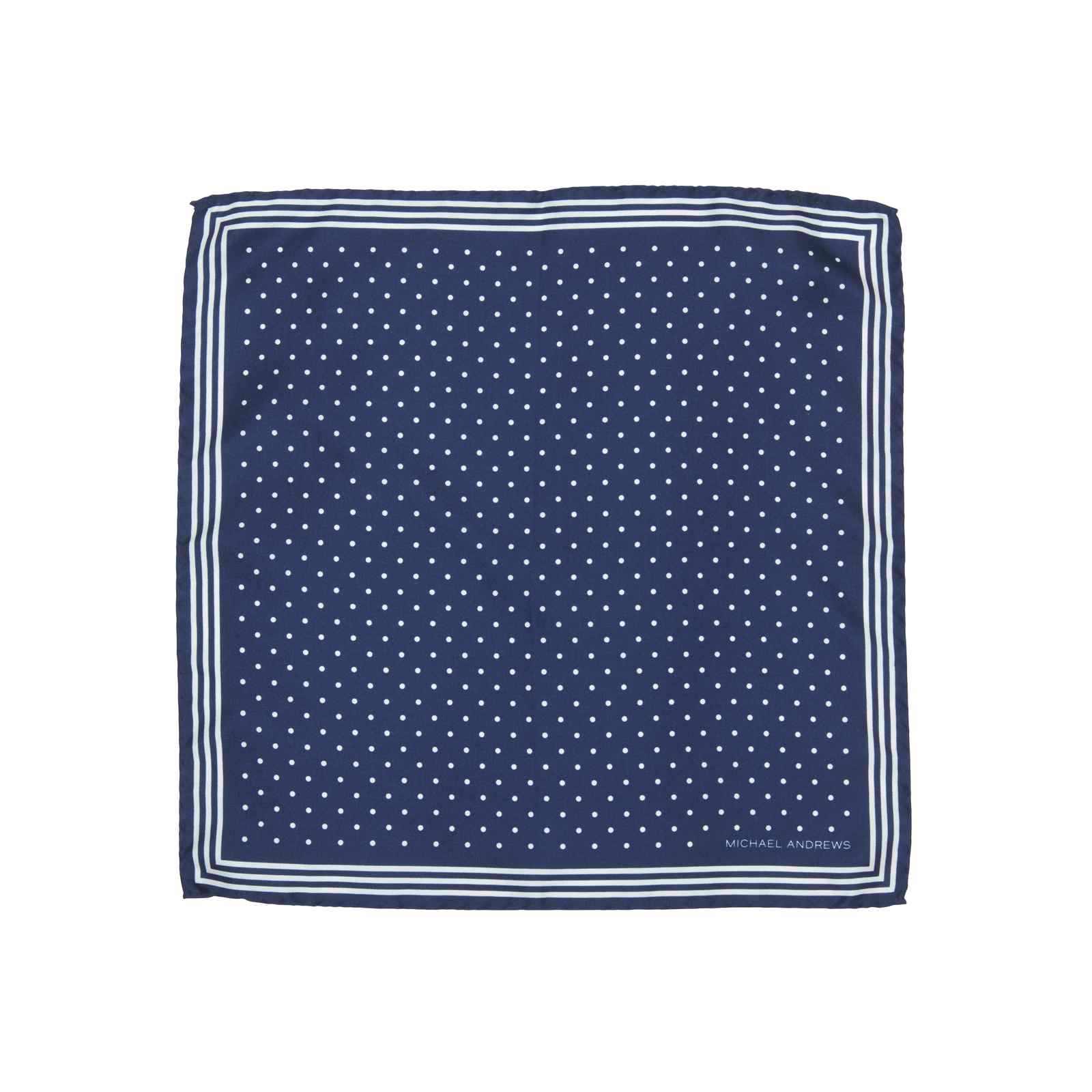Navy Pocket Square with Classic White Polka Dots and Striped Border