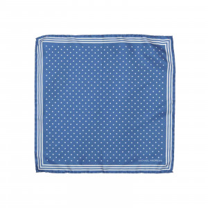 Royal Blue Pocket Square with Classic White Polka Dots and Striped Border