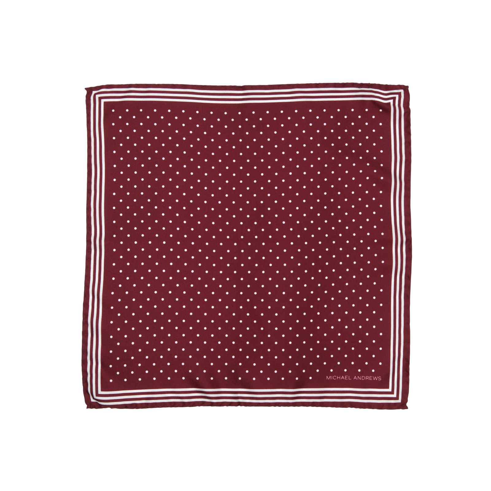 Burgundy Pocket Square with Classic White Polka Dots and Striped Border
