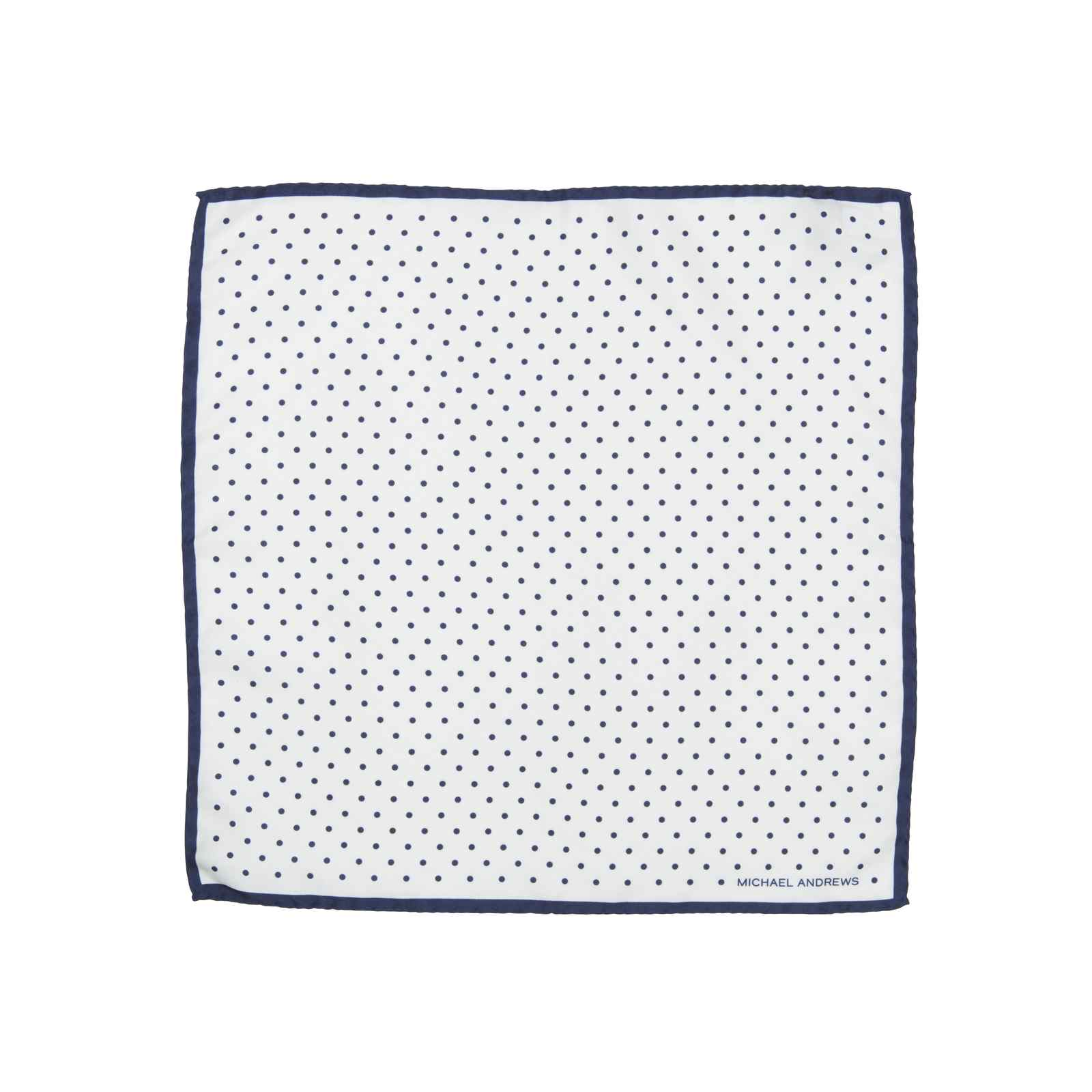 White Pocket Square with Navy Classic Polka Dots and Striped Border