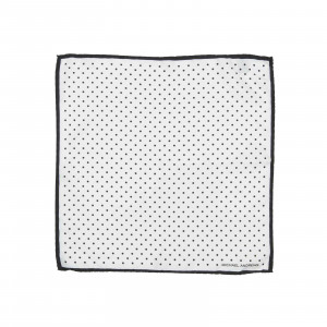 White Pocket Square with Black Classic Polka Dots and Striped Border