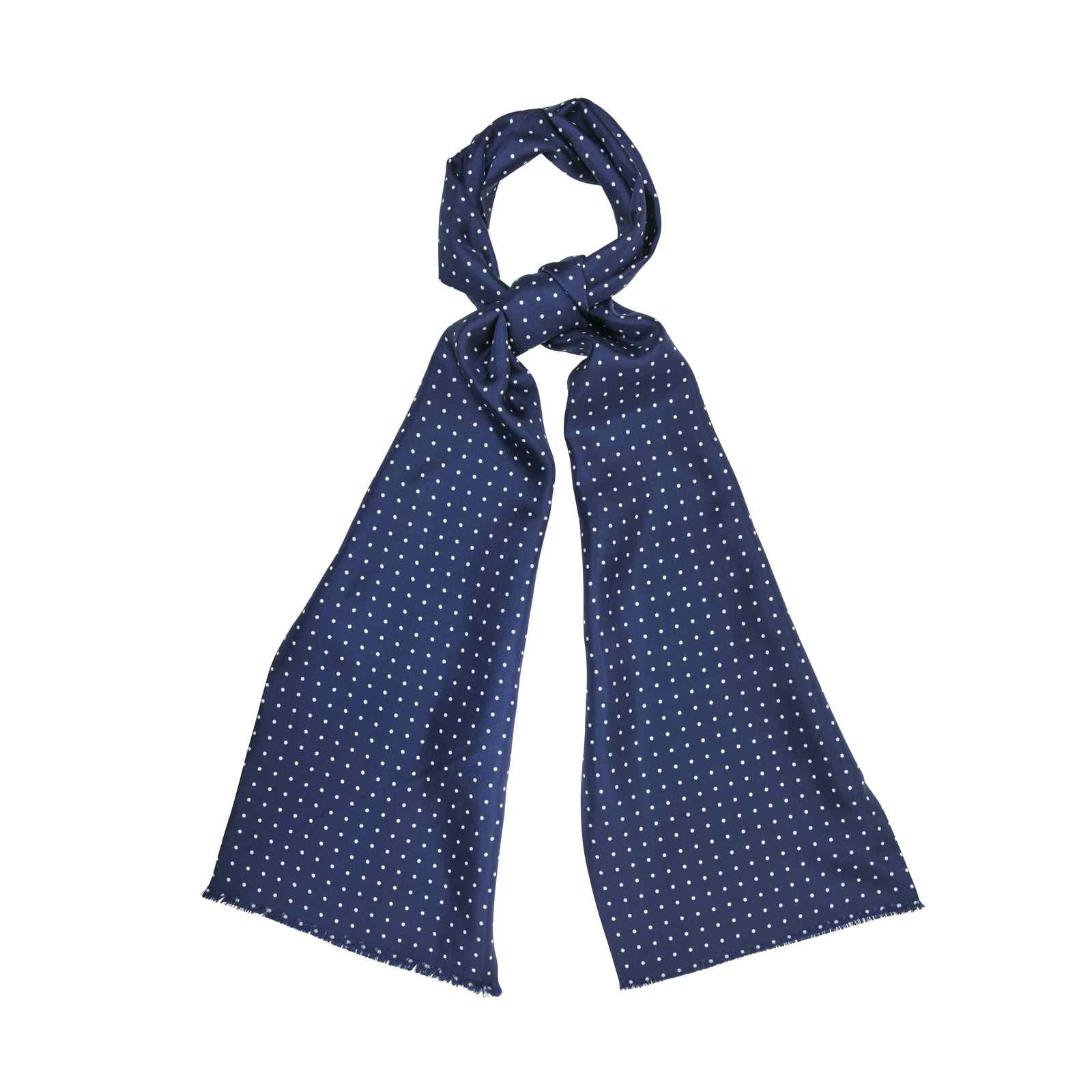 Navy Silk Scarf with White Dots