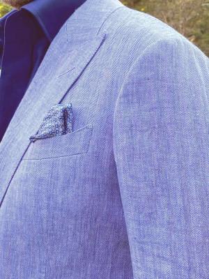 Blue & White Herringbone Linen Sport Coat