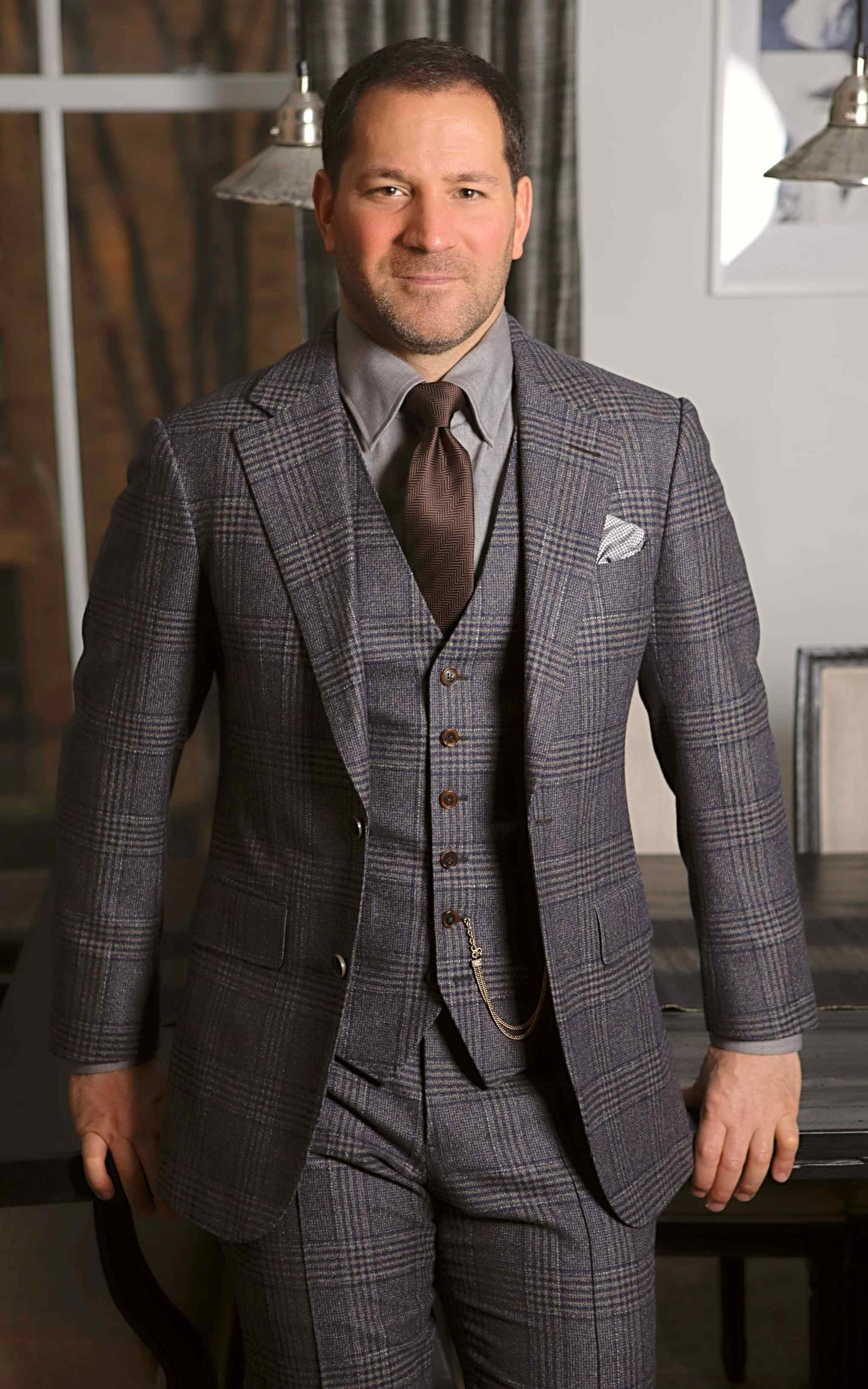Brown and Blue Glencheck Suit