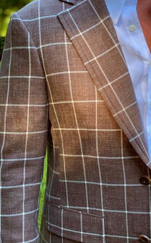 Bespoke Brown Rope Windowpane Sport Coat