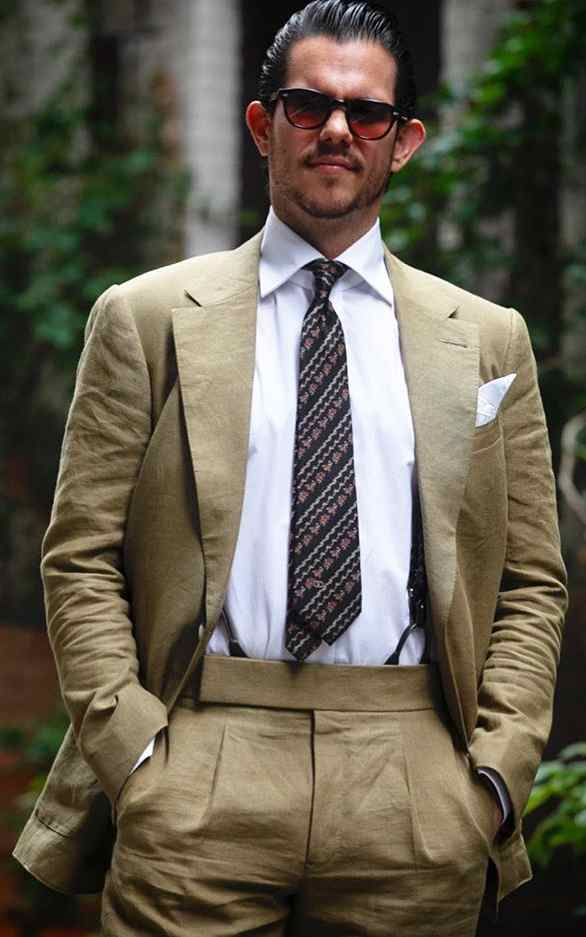 Bespoke Tan Solid Linen Suit