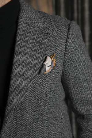 Bespoke Grey Herringbone Harris Tweed Sport Coat