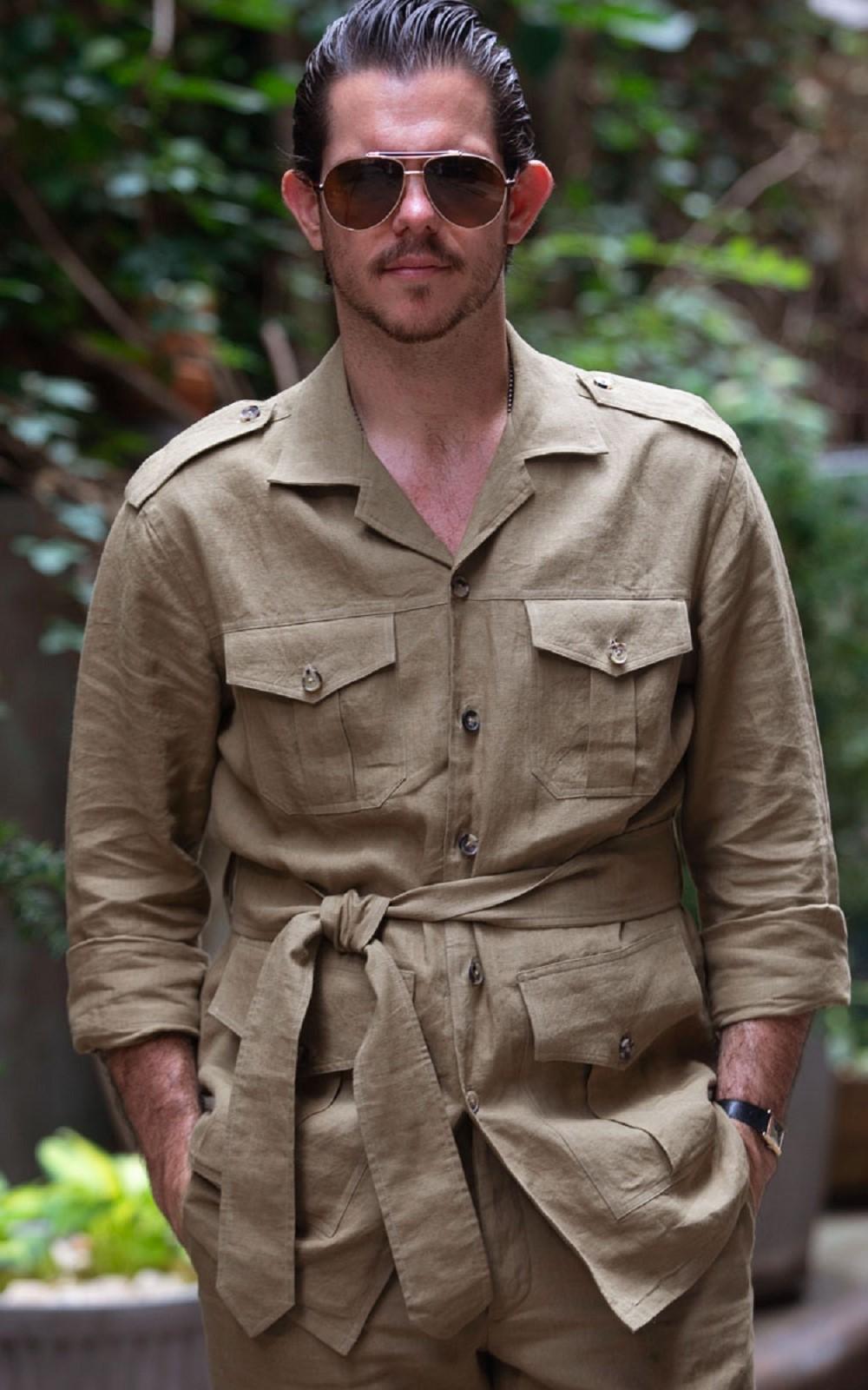 Light Brown Belted Safari Shirt-Jacket