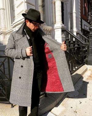 Bespoke Black & White Glen Urquhart Great Coat